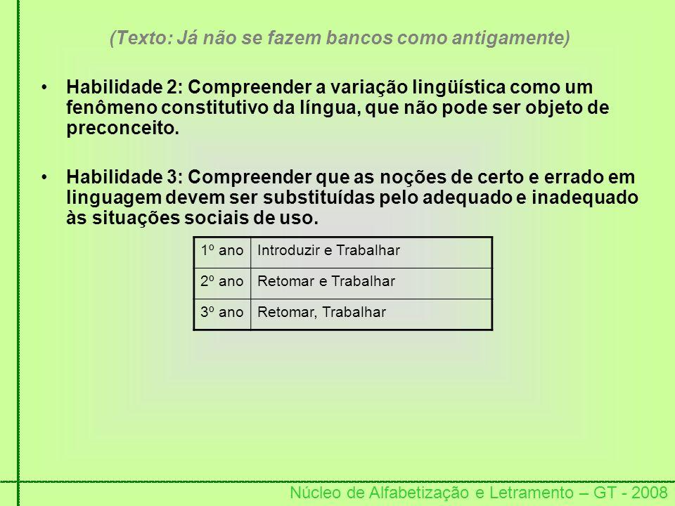 Núcleo de Alfabetização e Letramento – GT - 2008 (Texto: Já não se fazem bancos como antigamente) Habilidade 2: Compreender a variação lingüística com