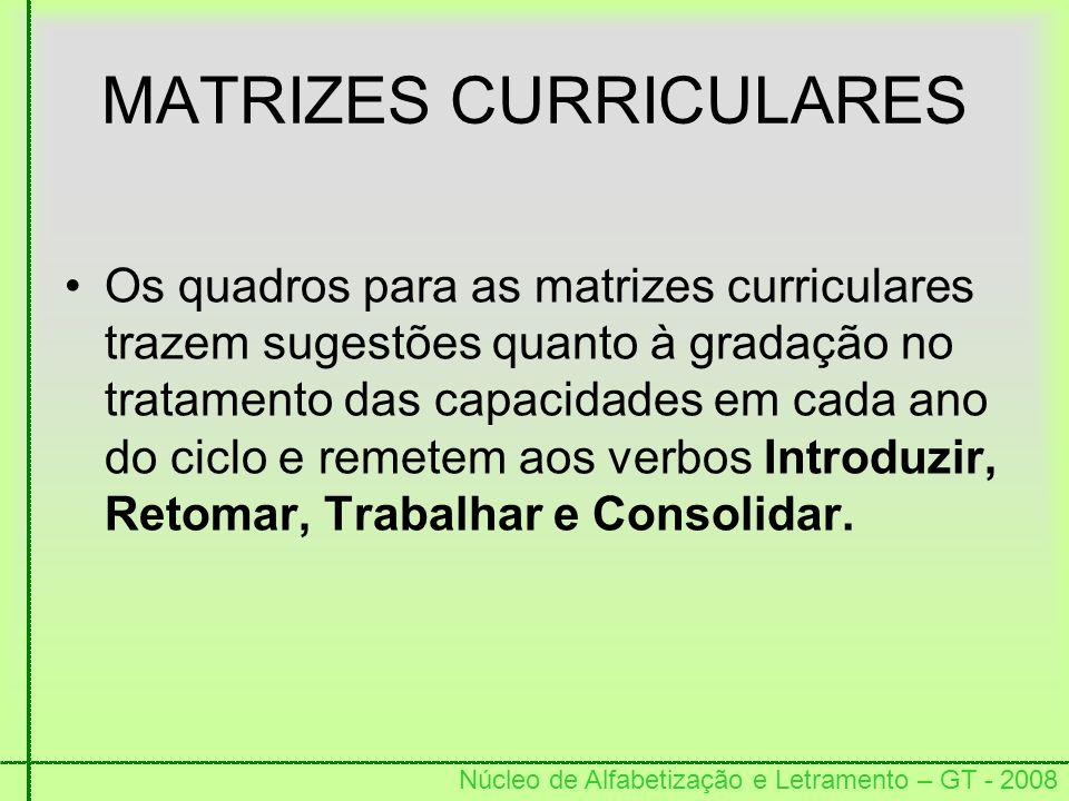 Núcleo de Alfabetização e Letramento – GT - 2008 MATRIZES CURRICULARES Os quadros para as matrizes curriculares trazem sugestões quanto à gradação no