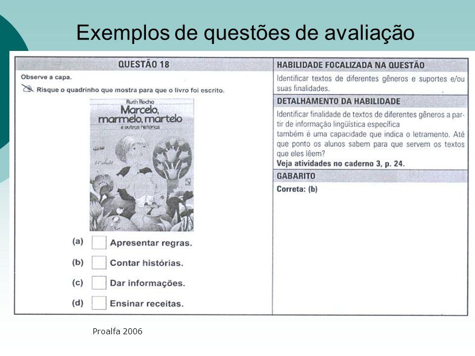 Proalfa 2006 Exemplos de questões de avaliação