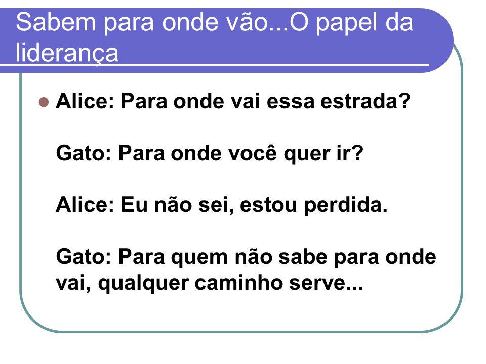 Sabem para onde vão...O papel da liderança Alice: Para onde vai essa estrada? Gato: Para onde você quer ir? Alice: Eu não sei, estou perdida. Gato: Pa