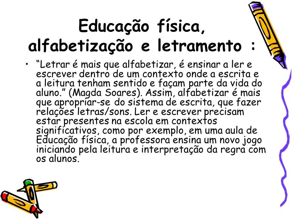 Educação física, alfabetização e letramento : Letrar é mais que alfabetizar, é ensinar a ler e escrever dentro de um contexto onde a escrita e a leitu