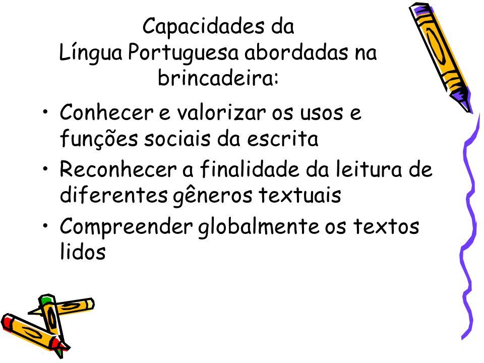 Capacidades da Língua Portuguesa abordadas na brincadeira: Conhecer e valorizar os usos e funções sociais da escrita Reconhecer a finalidade da leitur