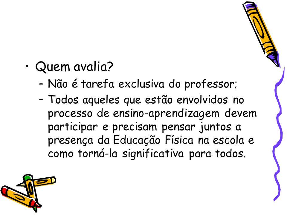Quem avalia? –Não é tarefa exclusiva do professor; –Todos aqueles que estão envolvidos no processo de ensino-aprendizagem devem participar e precisam