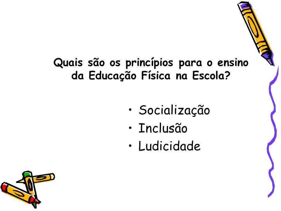 Quais são os princípios para o ensino da Educação Física na Escola? Socialização Inclusão Ludicidade