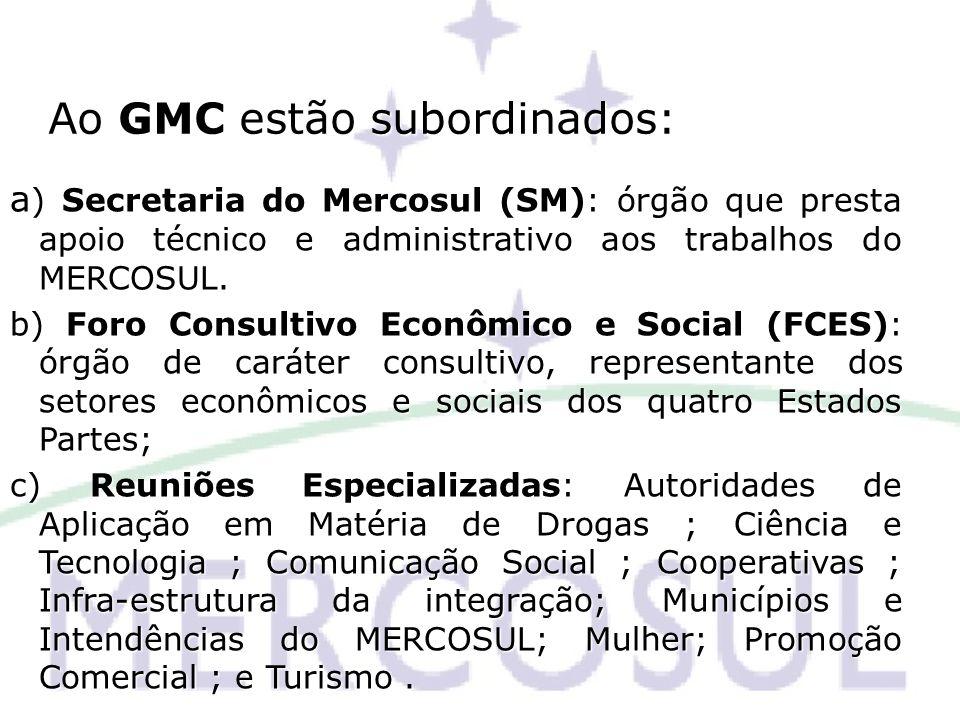 Ao GMC estão subordinados: ) Secretaria do Mercosul (SM): órgão que presta apoio técnico e administrativo aos trabalhos do MERCOSUL. a ) Secretaria do