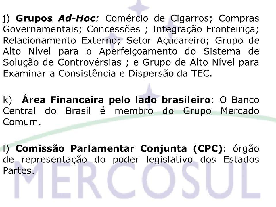 j) Grupos Ad-Hoc: Comércio de Cigarros; Compras Governamentais; Concessões ; Integração Fronteiriça; Relacionamento Externo; Setor Açucareiro; Grupo d