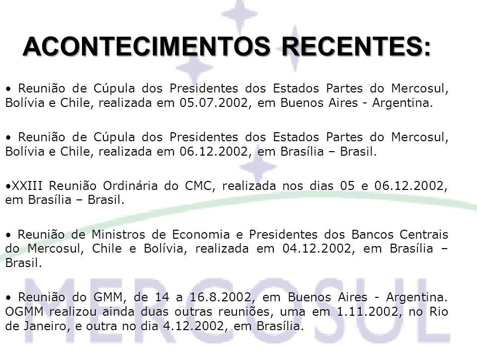 ACONTECIMENTOS RECENTES: Reunião de Cúpula dos Presidentes dos Estados Partes do Mercosul, Bolívia e Chile, realizada em 05.07.2002, em Buenos Aires -