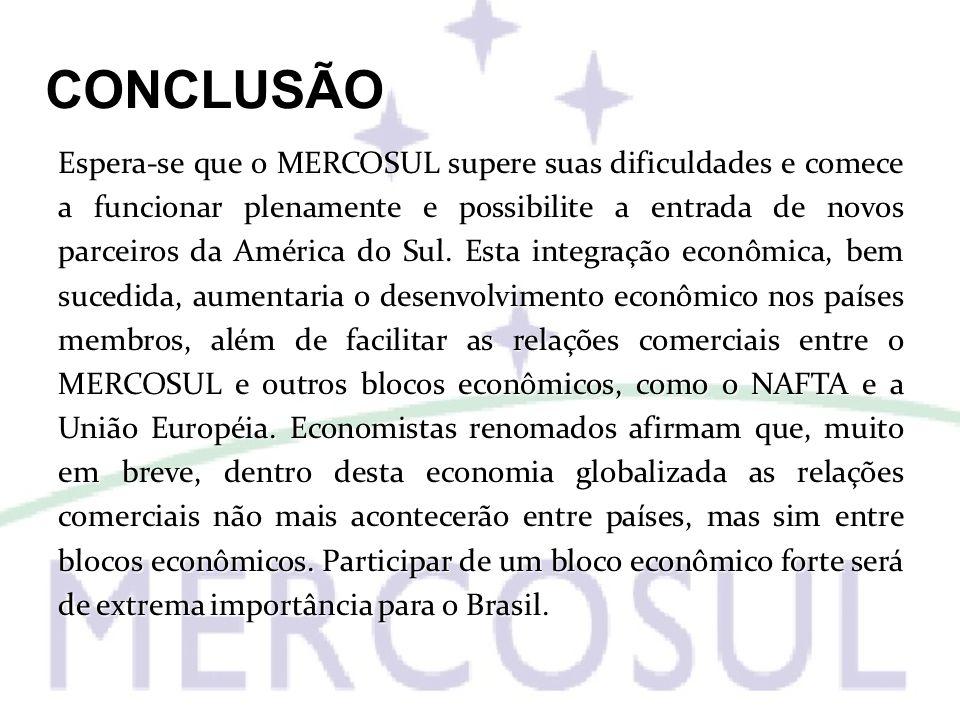 CONCLUSÃO Espera-se que o MERCOSUL supere suas dificuldades e comece a funcionar plenamente e possibilite a entrada de novos parceiros da América do S