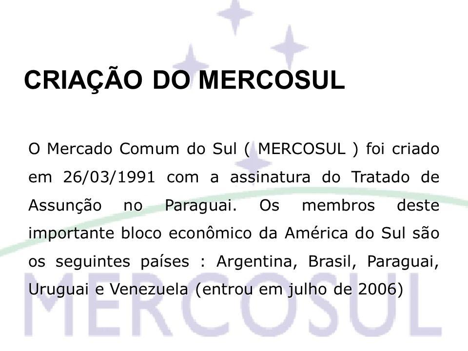 CRIAÇÃO DO MERCOSUL O Mercado Comum do Sul ( MERCOSUL ) foi criado em 26/03/1991 com a assinatura do Tratado de Assunção no Paraguai. Os membros deste