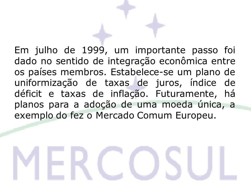 Em julho de 1999, um importante passo foi dado no sentido de integração econômica entre os países membros. Estabelece-se um plano de uniformização de