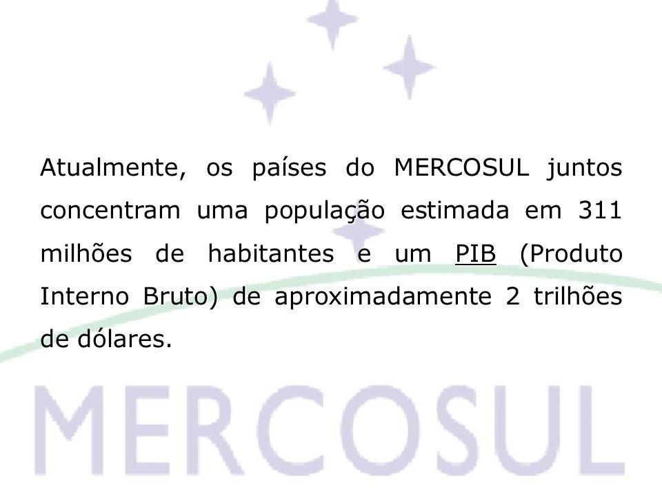 Atualmente, os países do MERCOSUL juntos concentram uma população estimada em 311 milhões de habitantes e um PIB (Produto Interno Bruto) de aproximada