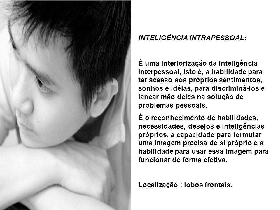 INTELIGÊNCIA INTRAPESSOAL: É uma interiorização da inteligência interpessoal, isto é, a habilidade para ter acesso aos próprios sentimentos, sonhos e