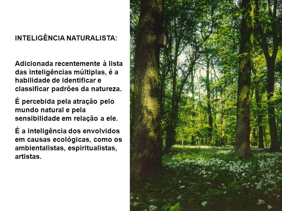 INTELIGÊNCIA NATURALISTA: Adicionada recentemente à lista das inteligências múltiplas, é a habilidade de identificar e classificar padrões da natureza