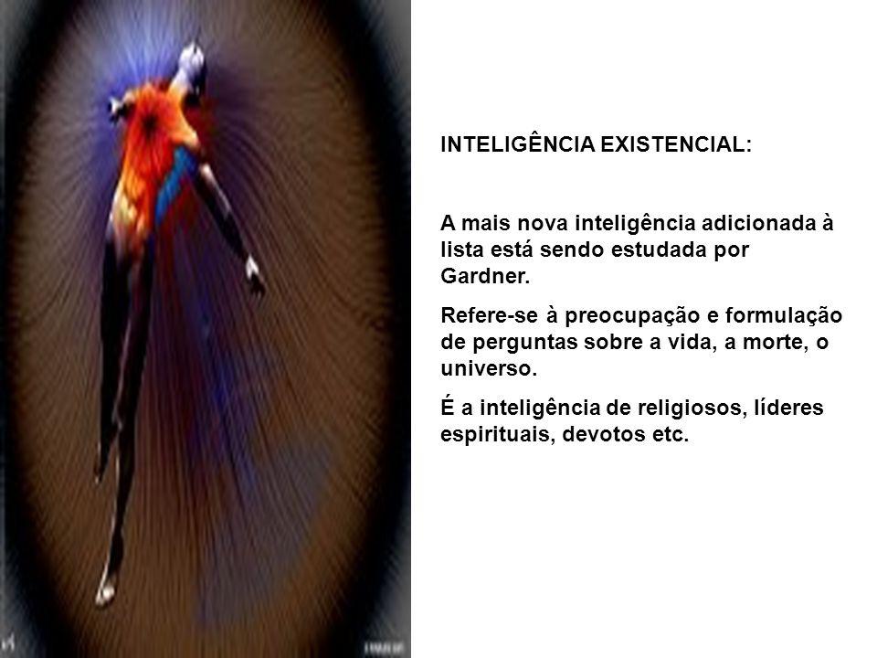 INTELIGÊNCIA EXISTENCIAL: A mais nova inteligência adicionada à lista está sendo estudada por Gardner. Refere-se à preocupação e formulação de pergunt