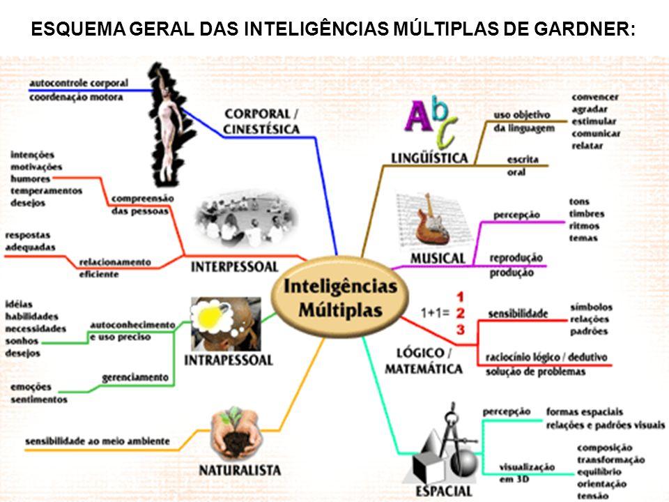 ESQUEMA GERAL DAS INTELIGÊNCIAS MÚLTIPLAS DE GARDNER:
