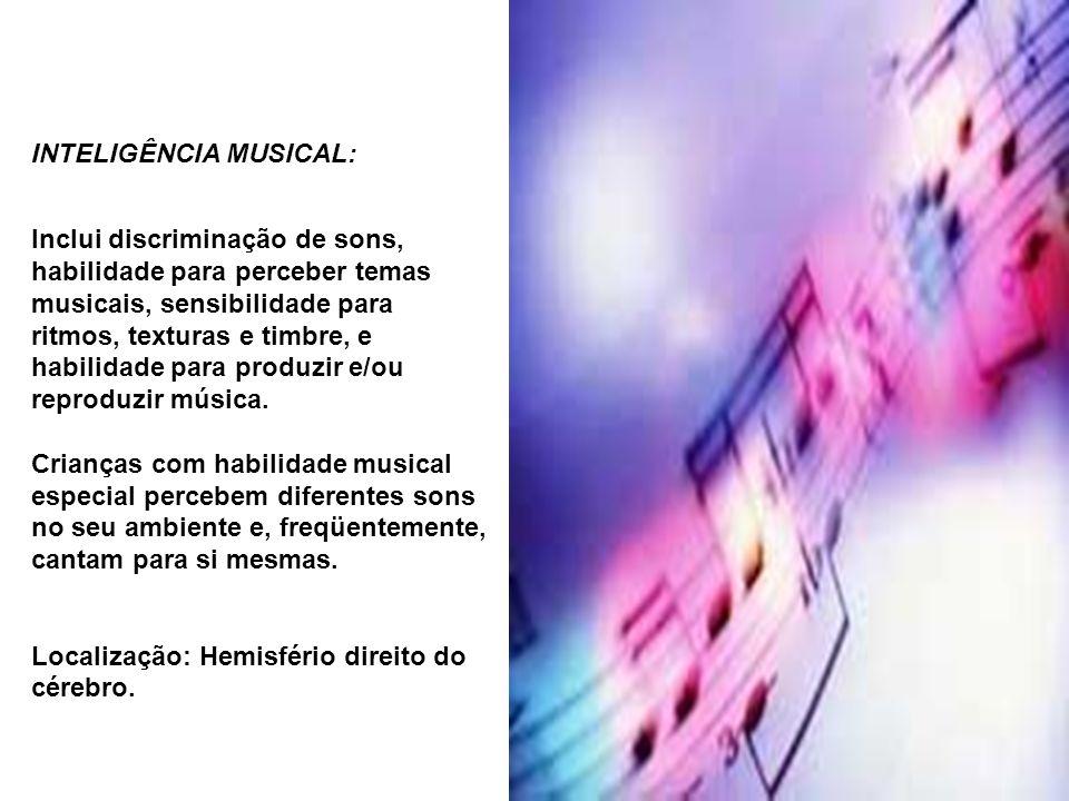 INTELIGÊNCIA MUSICAL: Inclui discriminação de sons, habilidade para perceber temas musicais, sensibilidade para ritmos, texturas e timbre, e habilidad