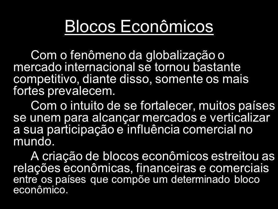 Blocos Econômicos Com o fenômeno da globalização o mercado internacional se tornou bastante competitivo, diante disso, somente os mais fortes prevalecem.