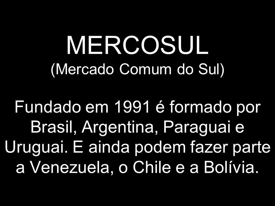 MERCOSUL (Mercado Comum do Sul) Fundado em 1991 é formado por Brasil, Argentina, Paraguai e Uruguai. E ainda podem fazer parte a Venezuela, o Chile e