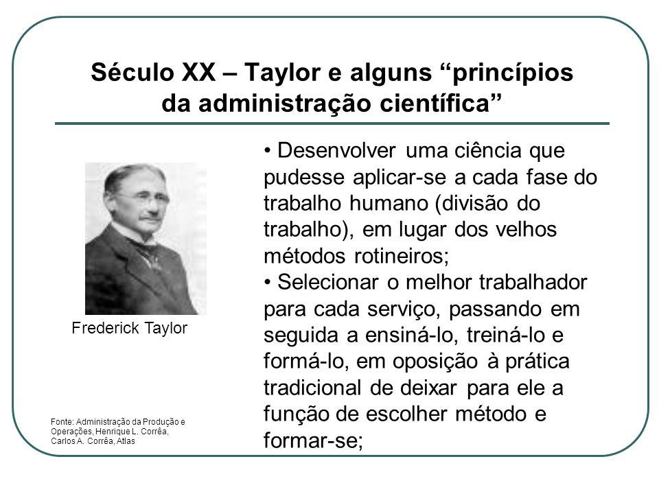 Século XX – Taylor e alguns princípios da administração científica Frederick Taylor Desenvolver uma ciência que pudesse aplicar-se a cada fase do trab