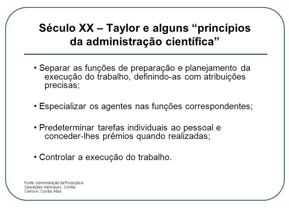 Século XX – Taylor e alguns princípios da administração científica Separar as funções de preparação e planejamento da execução do trabalho, definindo-