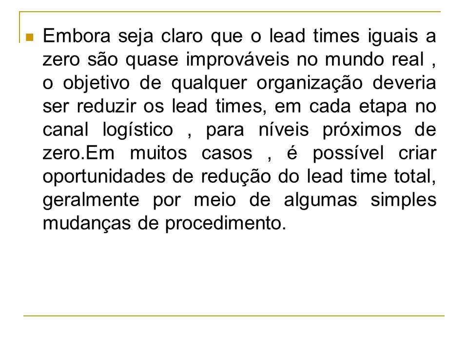 Embora seja claro que o lead times iguais a zero são quase improváveis no mundo real, o objetivo de qualquer organização deveria ser reduzir os lead t