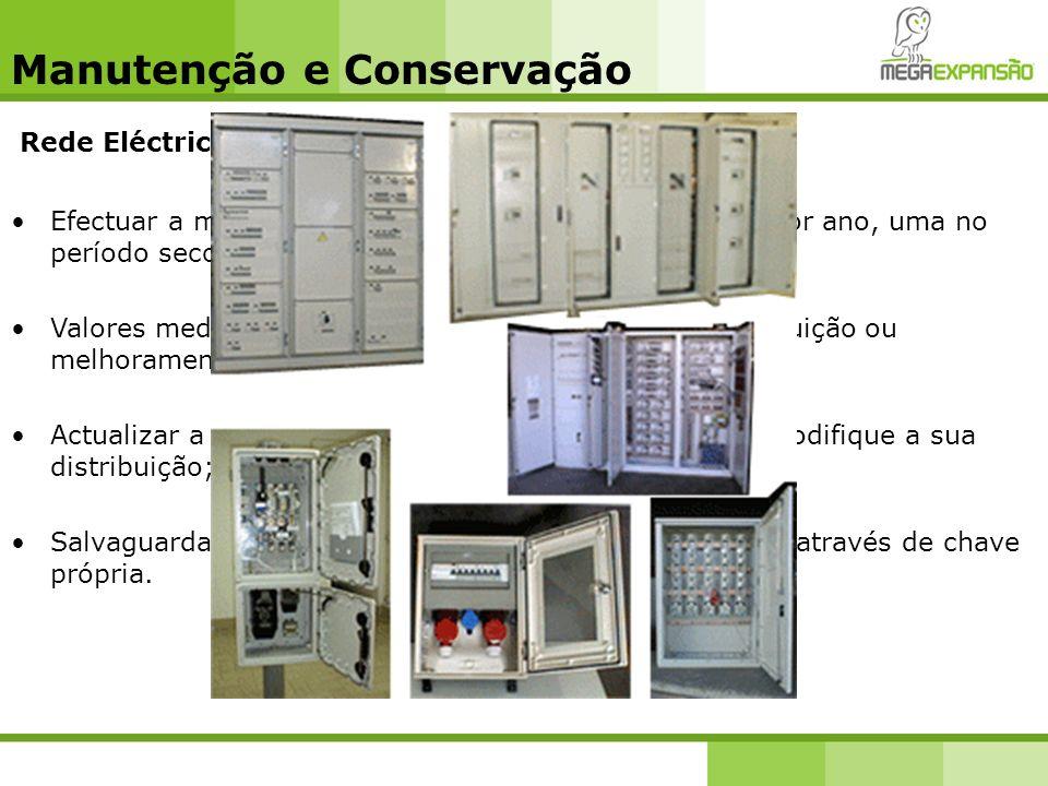 Manutenção e Conservação Rede Eléctrica - Quadros eléctricos Efectuar a medição das terras pelo menos duas vezes por ano, uma no período seco e outra