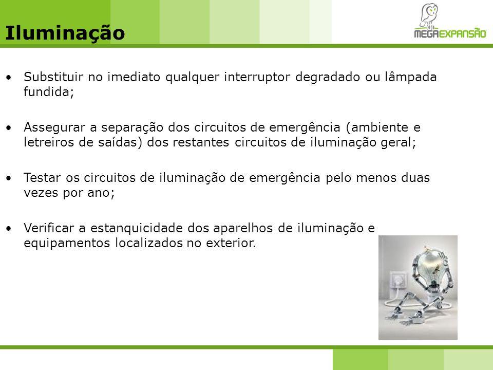Iluminação Substituir no imediato qualquer interruptor degradado ou lâmpada fundida; Assegurar a separação dos circuitos de emergência (ambiente e let