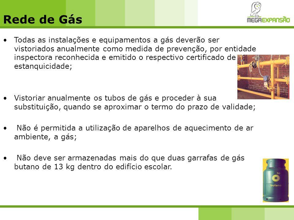Rede de Gás Todas as instalações e equipamentos a gás deverão ser vistoriados anualmente como medida de prevenção, por entidade inspectora reconhecida