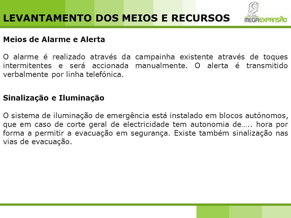 LEVANTAMENTO DOS MEIOS E RECURSOS Meios de Alarme e Alerta O alarme é realizado através da campainha existente através de toques intermitentes e será
