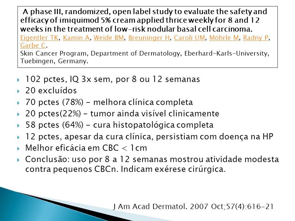 102 pctes, IQ 3x sem, por 8 ou 12 semanas 20 excluídos 70 pctes (78%) - melhora clínica completa 20 pctes(22%) - tumor ainda visível clinicamente 58 p