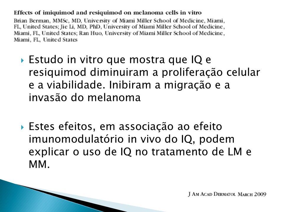 Estudo in vitro que mostra que IQ e resiquimod diminuiram a proliferação celular e a viabilidade. Inibiram a migração e a invasão do melanoma Estes ef
