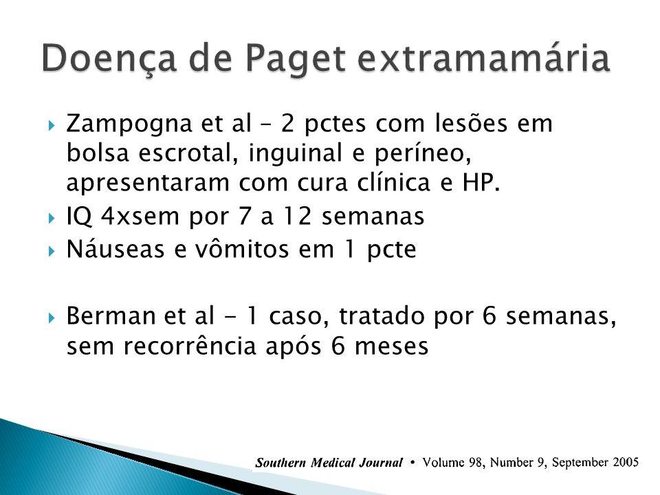 Zampogna et al – 2 pctes com lesões em bolsa escrotal, inguinal e períneo, apresentaram com cura clínica e HP. IQ 4xsem por 7 a 12 semanas Náuseas e v