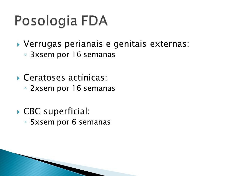 Verrugas perianais e genitais externas: 3xsem por 16 semanas Ceratoses actínicas: 2xsem por 16 semanas CBC superficial: 5xsem por 6 semanas