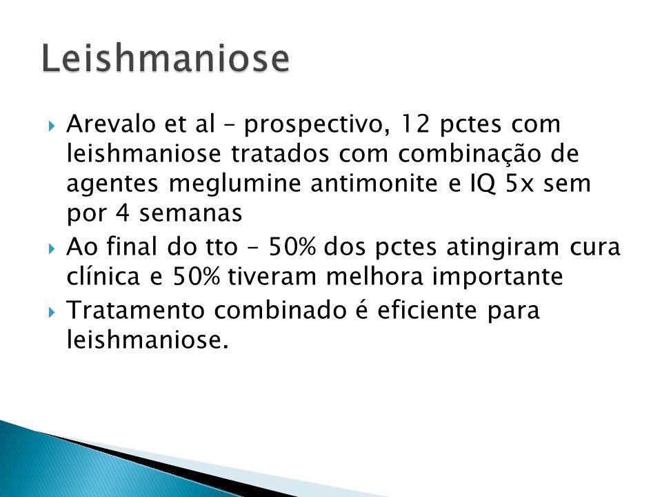 Arevalo et al – prospectivo, 12 pctes com leishmaniose tratados com combinação de agentes meglumine antimonite e IQ 5x sem por 4 semanas Ao final do t