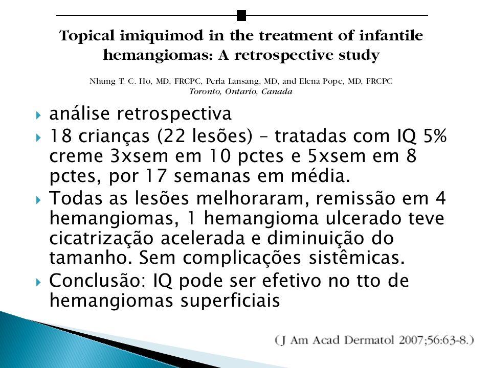 análise retrospectiva 18 crianças (22 lesões) – tratadas com IQ 5% creme 3xsem em 10 pctes e 5xsem em 8 pctes, por 17 semanas em média. Todas as lesõe