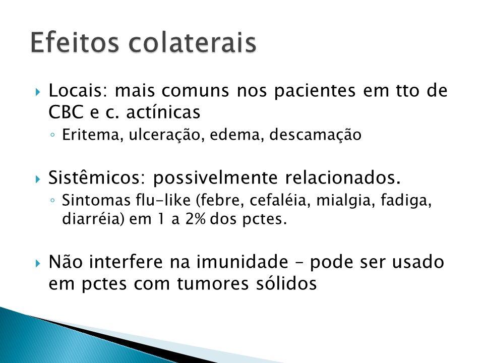 Locais: mais comuns nos pacientes em tto de CBC e c. actínicas Eritema, ulceração, edema, descamação Sistêmicos: possivelmente relacionados. Sintomas