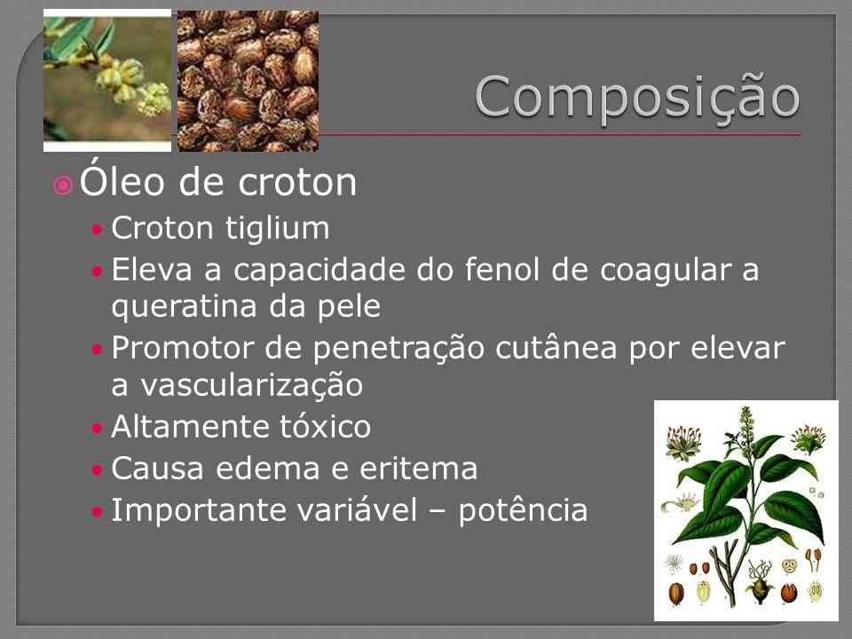Óleo de croton Croton tiglium Eleva a capacidade do fenol de coagular a queratina da pele Promotor de penetração cutânea por elevar a vascularização A