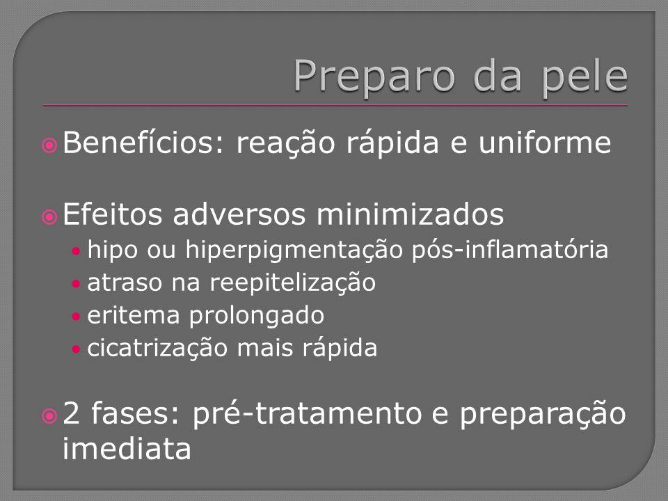Benefícios: reação rápida e uniforme Efeitos adversos minimizados hipo ou hiperpigmentação pós-inflamatória atraso na reepitelização eritema prolongad