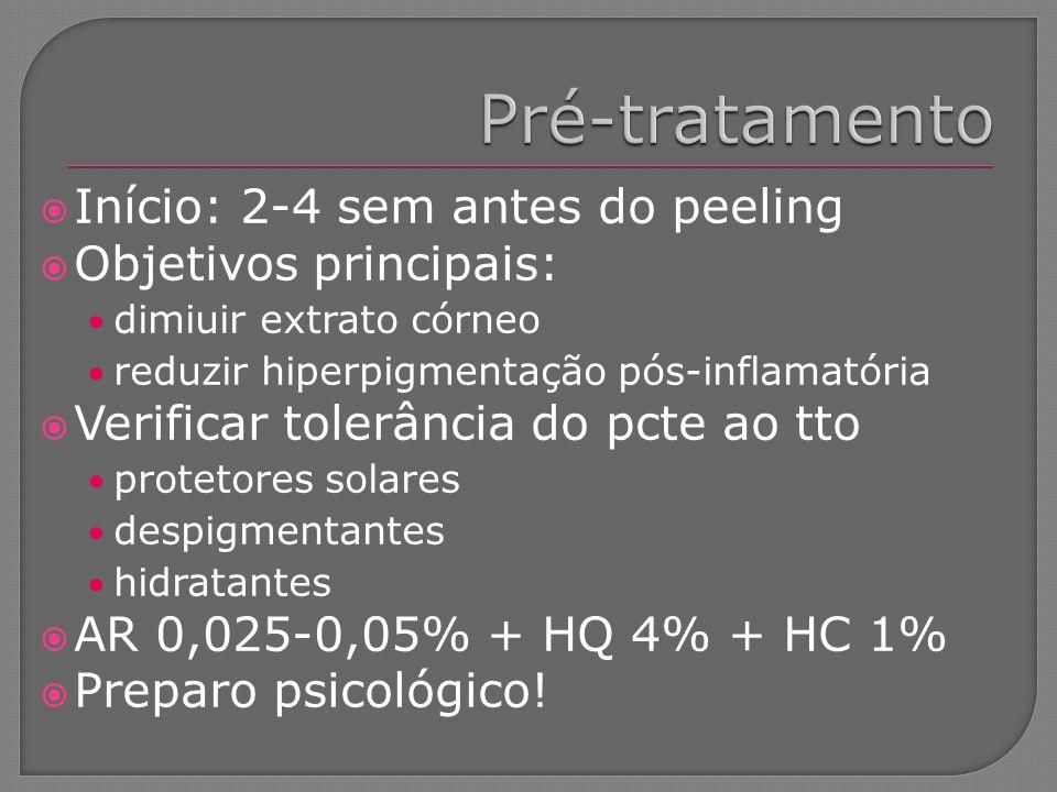 Início: 2-4 sem antes do peeling Objetivos principais: dimiuir extrato córneo reduzir hiperpigmentação pós-inflamatória Verificar tolerância do pcte a