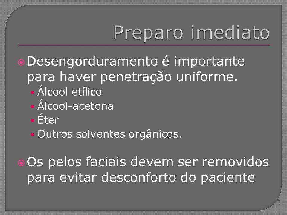 Desengorduramento é importante para haver penetração uniforme. Álcool etílico Álcool-acetona Éter Outros solventes orgânicos. Os pelos faciais devem s