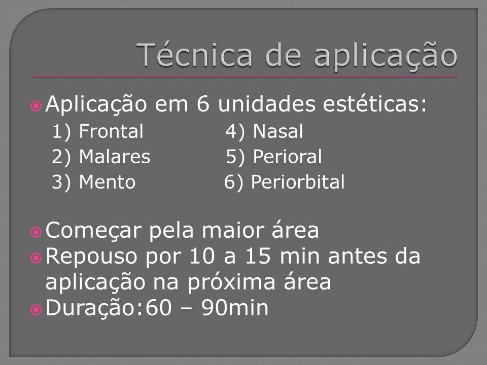Aplicação em 6 unidades estéticas: 1) Frontal 4) Nasal 2) Malares 5) Perioral 3) Mento 6) Periorbital Começar pela maior área Repouso por 10 a 15 min