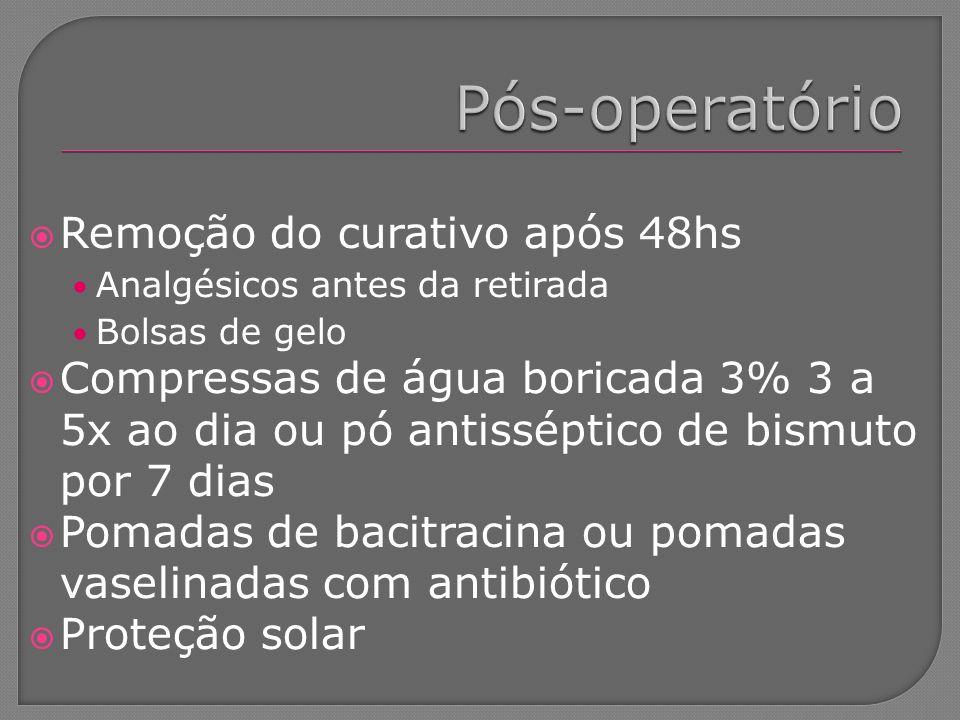 Remoção do curativo após 48hs Analgésicos antes da retirada Bolsas de gelo Compressas de água boricada 3% 3 a 5x ao dia ou pó antisséptico de bismuto