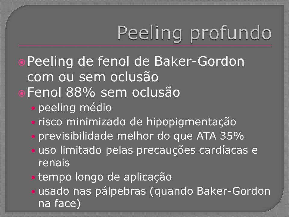 Peeling de fenol de Baker-Gordon com ou sem oclusão Fenol 88% sem oclusão peeling médio risco minimizado de hipopigmentação previsibilidade melhor do