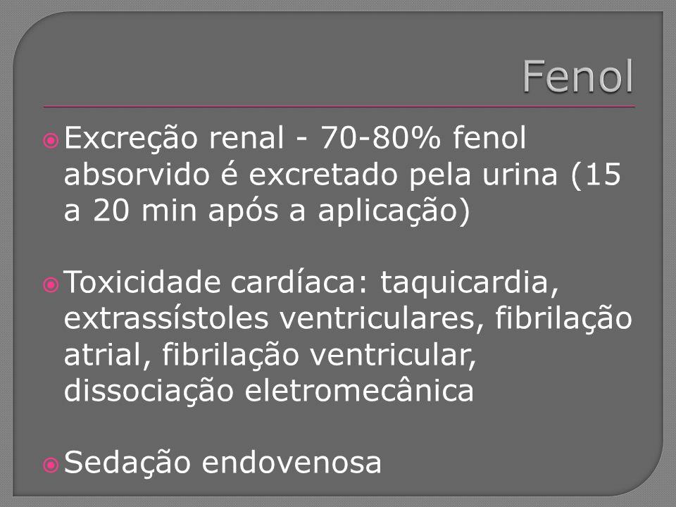 Excreção renal - 70-80% fenol absorvido é excretado pela urina (15 a 20 min após a aplicação) Toxicidade cardíaca: taquicardia, extrassístoles ventric