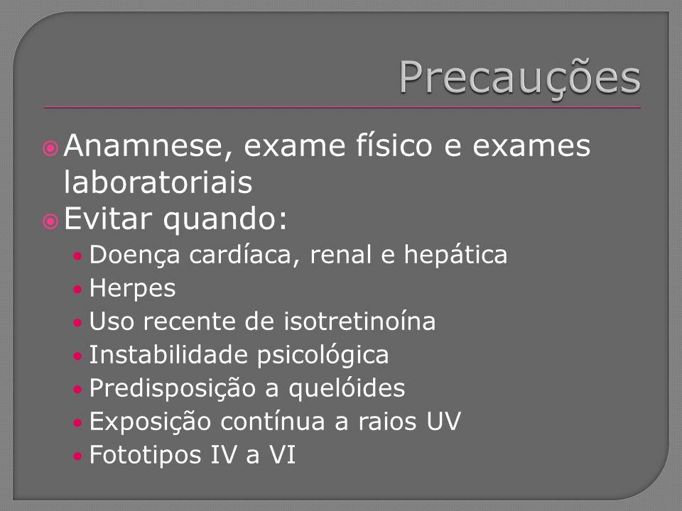 Anamnese, exame físico e exames laboratoriais Evitar quando: Doença cardíaca, renal e hepática Herpes Uso recente de isotretinoína Instabilidade psico
