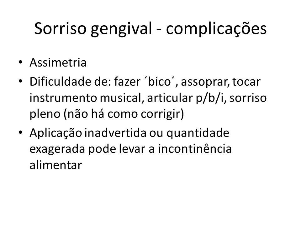 Sorriso gengival - complicações Assimetria Dificuldade de: fazer ´bico´, assoprar, tocar instrumento musical, articular p/b/i, sorriso pleno (não há c