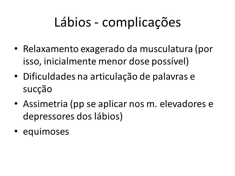 Lábios - complicações Relaxamento exagerado da musculatura (por isso, inicialmente menor dose possível) Dificuldades na articulação de palavras e sucç