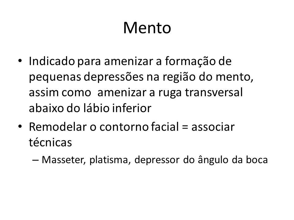 Mento Indicado para amenizar a formação de pequenas depressões na região do mento, assim como amenizar a ruga transversal abaixo do lábio inferior Rem