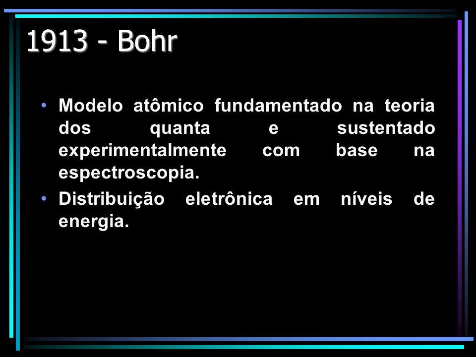 1913 - Bohr Modelo atômico fundamentado na teoria dos quanta e sustentado experimentalmente com base na espectroscopia.