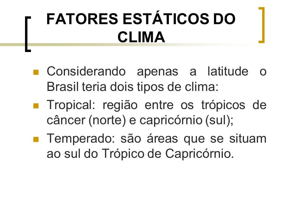 FATORES ESTÁTICOS DO CLIMA Considerando apenas a latitude o Brasil teria dois tipos de clima: Tropical: região entre os trópicos de câncer (norte) e c